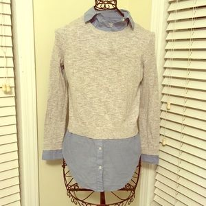 Gray sweater with denim underlay - Loft